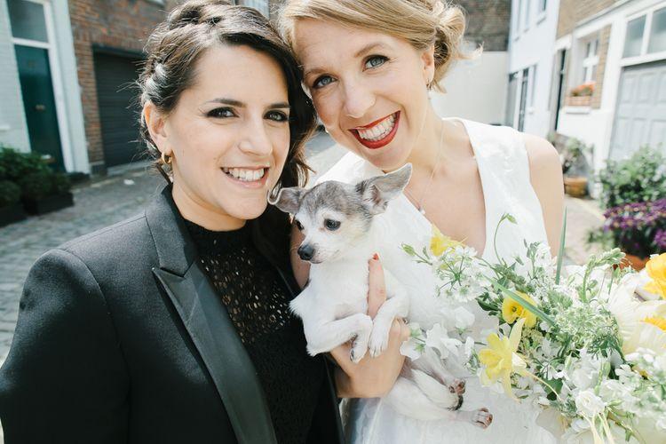 Bride & Bride and Pup Wedding Portrait