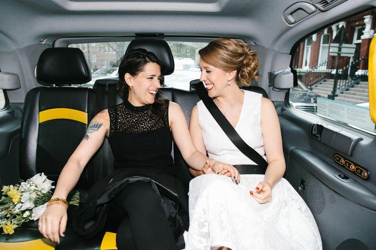 Two Brides Taxi Cab Portrait
