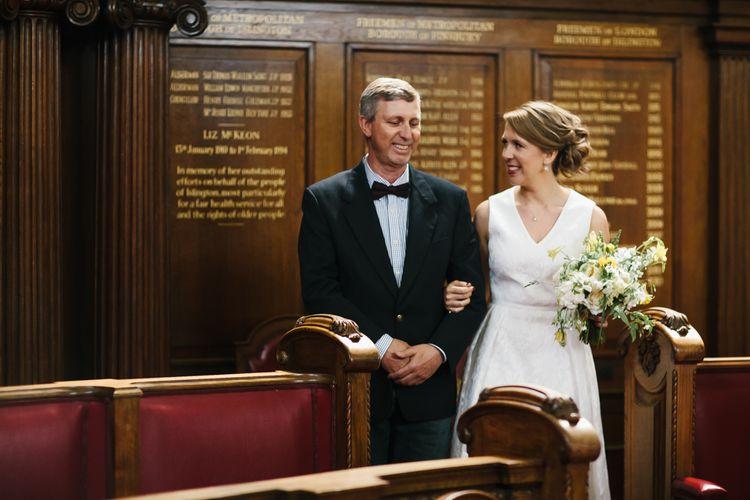 Bride in Ted Baker Dress Entrance