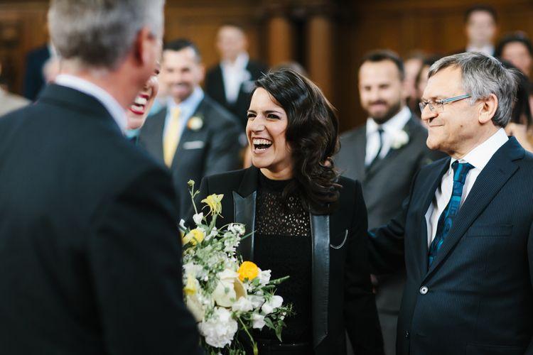 Bride in Couples Suit Entrance