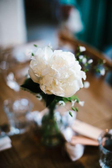 White Flower Stems in Vases