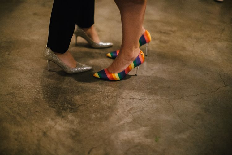 Rainbow and Silver Sparkle Bridal Shoes