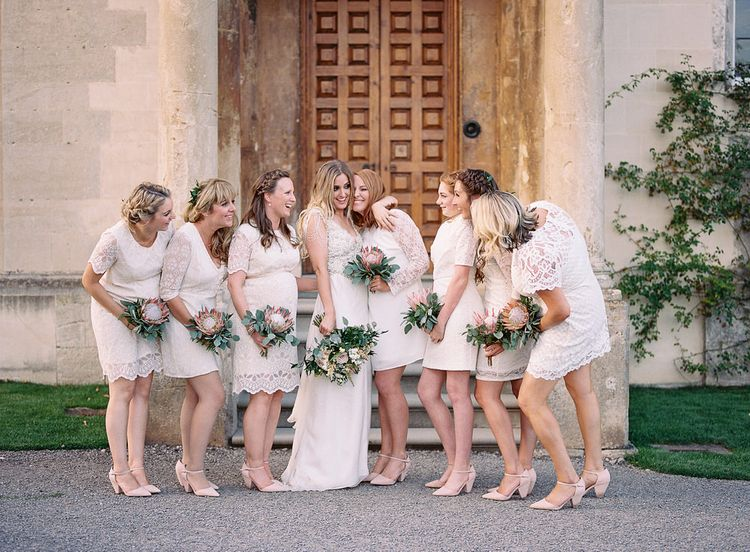 #crowedding Bridesmaids in white high street dresses