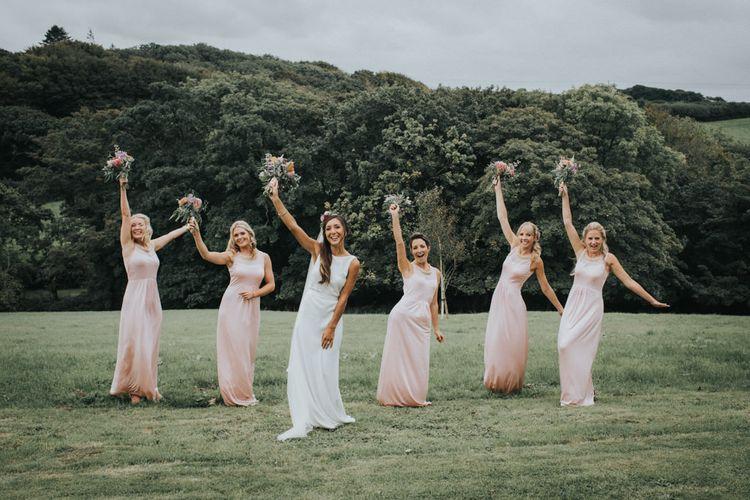 Bridesmaids in Pink Mango Dresses