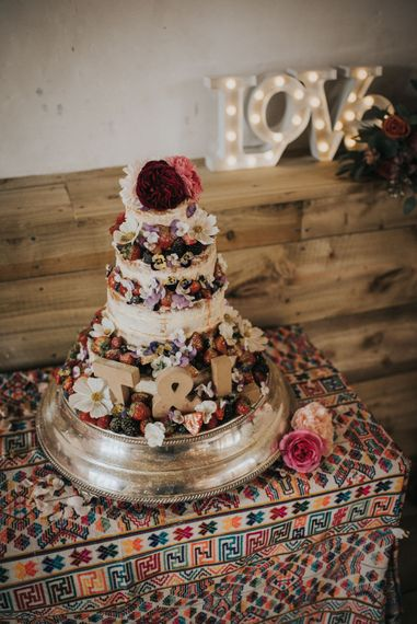 Semi Naked Cake Laden with Fruits & Flowers