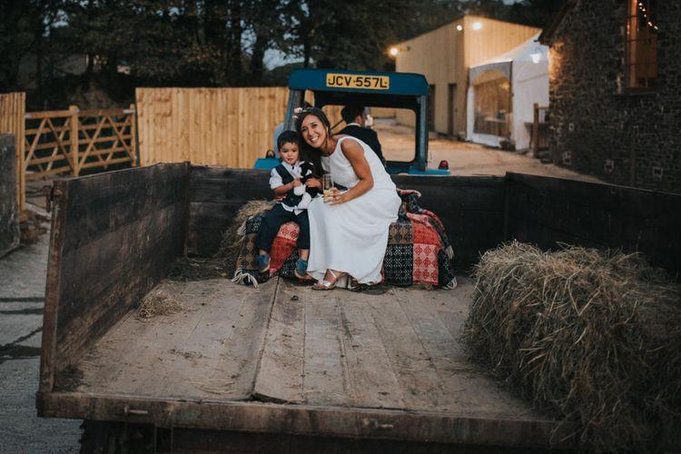 Bride & Page Boy on a Tractor