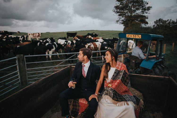 Bride & Groom Countryside Tractor Ride