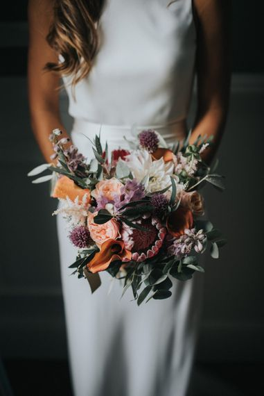 Deep Red & Oranges Bridal Bouquet with Protea
