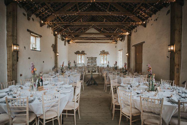 Elegant Rustic Barn Reception with Fairylights