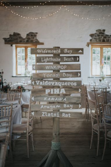 Rustic Wooden Picket Direction Sign