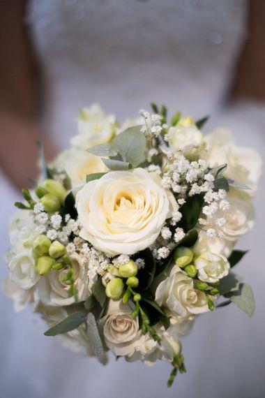 Classic White Rose & Gypsophila Bouquet