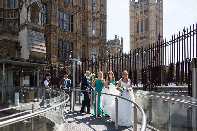 Bride & Bridesmaids walking around London