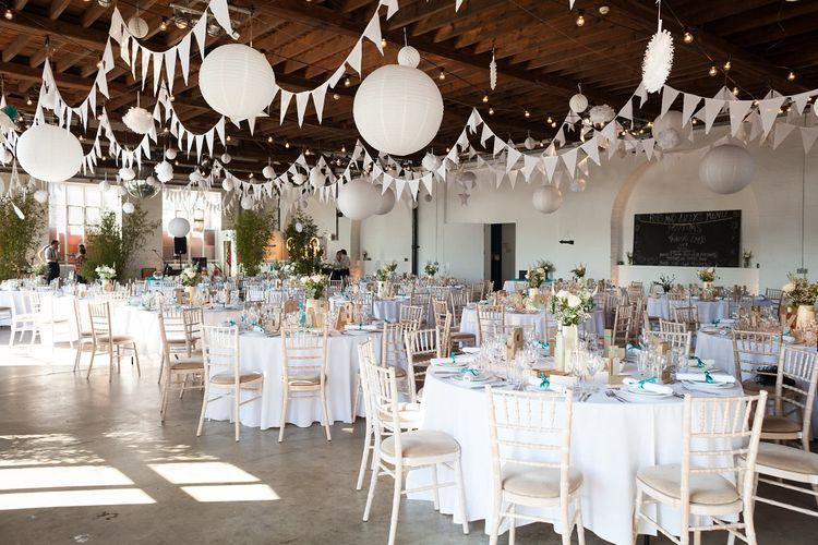 White Bunting and Hanging Paper Lanterns