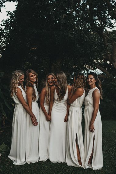 Bride in Bespoke Julia Ferrandi Backless Wedding Gown | Bridesmaids in White Dresses | Outdoor Woodland Wedding in South Africa | Michigan Behn Photography