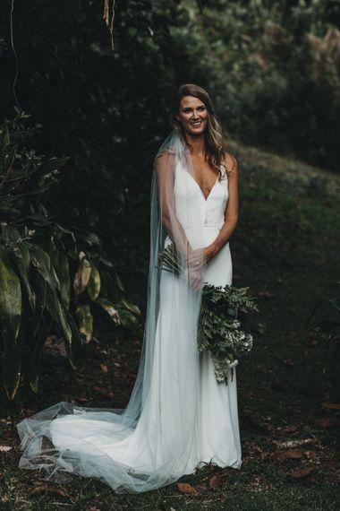 Bride in Bespoke Julia Ferrandi Backless Wedding Gown | Outdoor Woodland Wedding in South Africa | Michigan Behn Photography