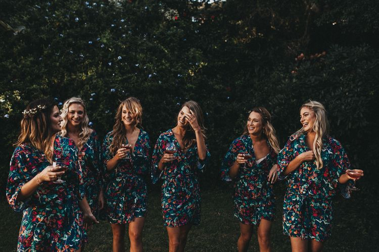 Bridesmaids in Matching Robes | Outdoor Woodland Ceremony & Jex Estate Reception in South Africa | Michigan Behn Photography