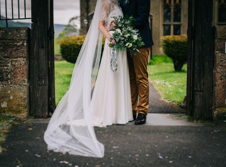 Bride in Halfpenny London Thea Dress & Berry Lace Jacket | Groom in Tan Paul Smith Trousers & Ted Baker Waistcoat & Jacket | Rachel Joyce Photography