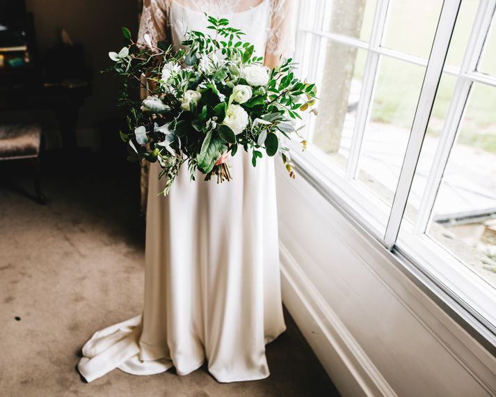 Bride in Halfpenny London Thea Dress & Berry Lace Jacket | Organic Bridal Bouquet | Rachel Joyce Photography