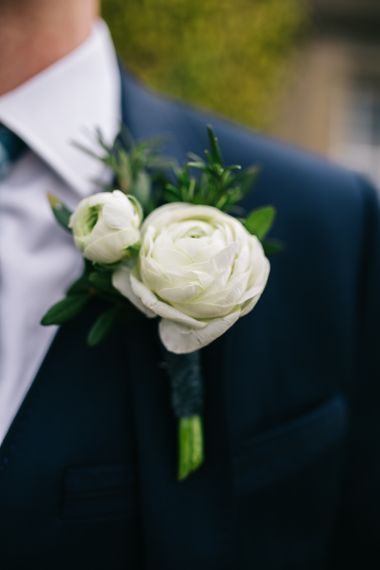 White Ranunculus Buttonhole | Rachel Joyce Photography