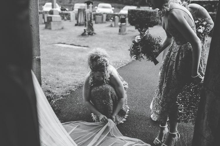 Bridesmaids in Cornflour Blue Lace Dresses | Rachel Joyce Photography