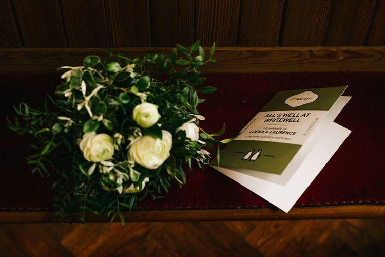Green Foliage & White Flower Organic, Wedding Bouquet | Vintage Penguin Books Wedding Stationery | Rachel Joyce Photography