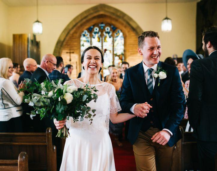 Church Wedding Ceremony | Bride in Halfpenny London Thea Dress & Berry Lace Jacket | Groom in Tan Paul Smith Trousers & Ted Baker Waistcoat & Jacket | Rachel Joyce Photography