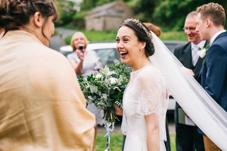 Bride in Halfpenny London Thea Dress & Berry Lace Jacket | Rachel Joyce Photography