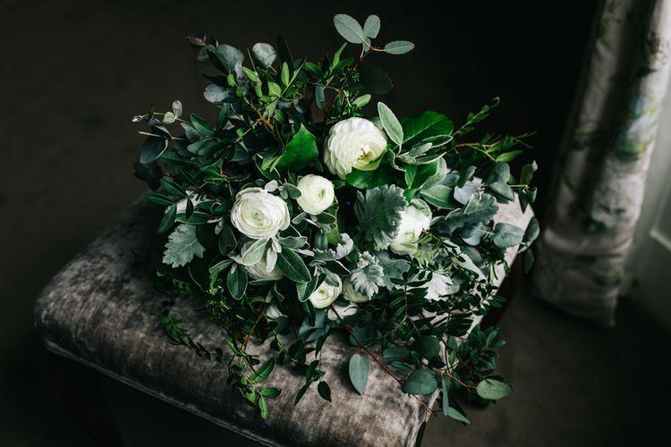 Green Foliage & White Flower Organic, Wedding Bouquet | Rachel Joyce Photography