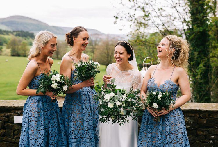 Bride in Halfpenny London Thea Dress & Berry Lace Jacket | Bridesmaids in Cornflour Blue Lace Dresses | Rachel Joyce Photography