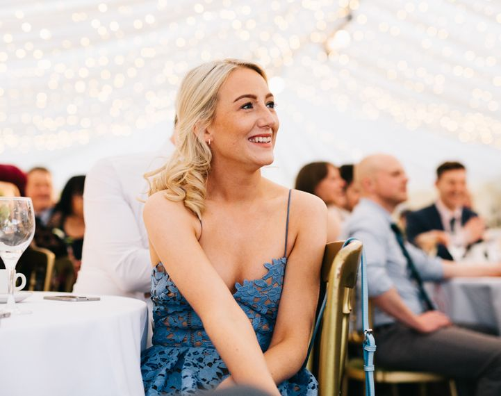 Bridesmaid in Blue Lace Dress | Relaxed Country Pub Wedding | Rachel Joyce Photography
