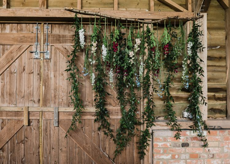 Hanging Floral Display At Wedding