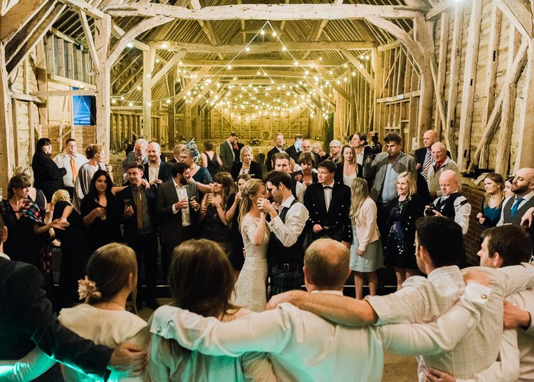 North Hidden Barn For A Rustic Wedding With Festoon Lights And A Ceilidh