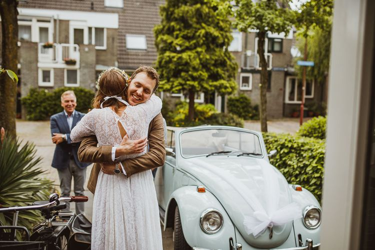 Rustic DIY Wedding In The Netherlands With Bride In Tea Length Vintage Gown And Images From Neil Jackson Photographic With Vintage Mint Green VW Beetle