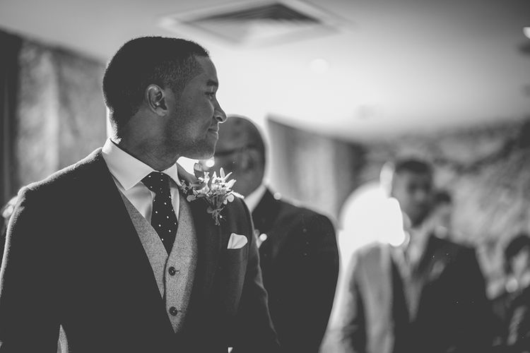 Groom at the Altar in Navy Bespoke Club Suit | Stylish London Wedding Planned by Revelry Events | Story + Colour Photography