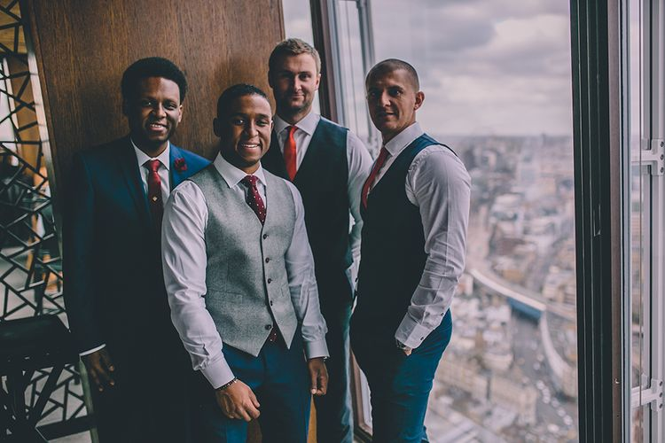 Groomsmen | Groom in The Bespoke Club Navy Blue Suit | Stylish London Wedding Planned by Revelry Events | Story + Colour Photography