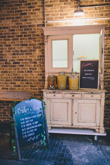Vintage Dress Drinks Dispenser Station | Stylish London Wedding Planned by Revelry Events | Story + Colour Photography