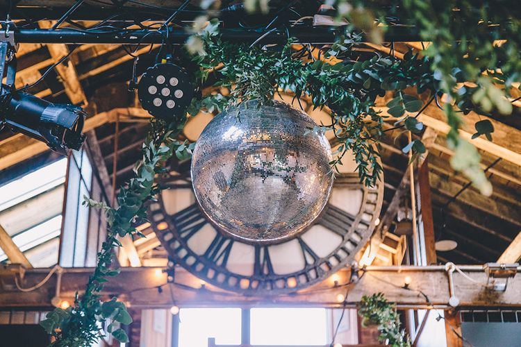 Clock & Disco Ball Wedding Decor | Stylish London Wedding Planned by Revelry Events | Story + Colour Photography