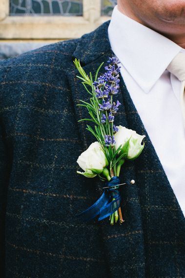 White & Purple Buttonhole