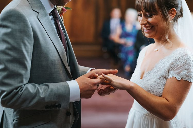 Bride in Cymbeline Wedding Dress | Groom in Bailey Nelson Suit | Intimate Ceremony at Stoke Newington Town Hall | Miss Gen Photography