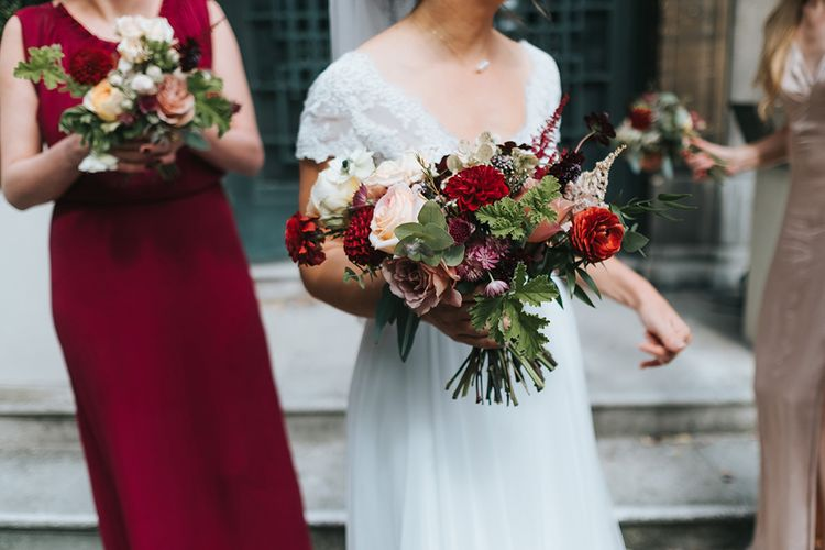 Red & Pale Pink Bouquet | Bride in Cymbeline Wedding Dress | Intimate Ceremony at Stoke Newington Town Hall | Miss Gen Photography