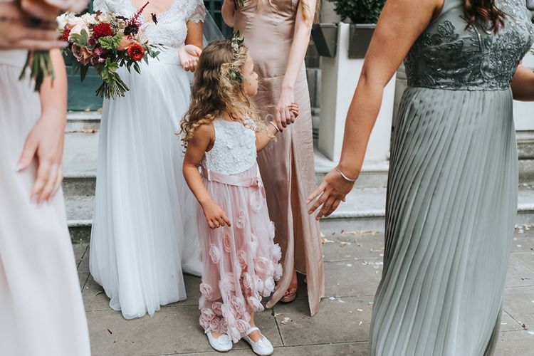 Bride in Cymbeline Wedding Dress | Bridesmaids in Different Dresses | Intimate Ceremony at Stoke Newington Town Hall | Miss Gen Photography