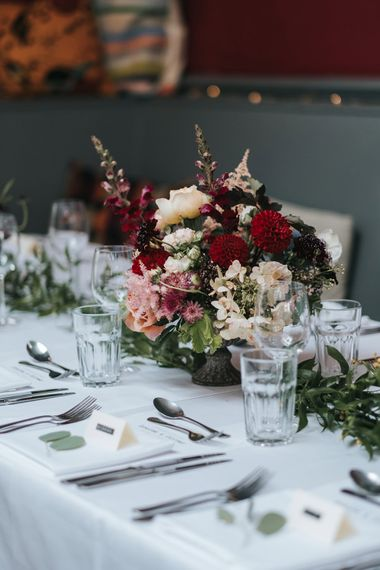 Red & Pink Floral Centrepiece | Laid Back Pub Wedding at The Londesborough | Miss Gen Photography