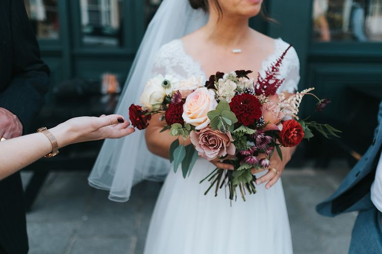 Red & Pale Pink Bouquet | Bride in Cymbeline Wedding Dress | Laid Back Pub Wedding at The Londesborough | Miss Gen Photography
