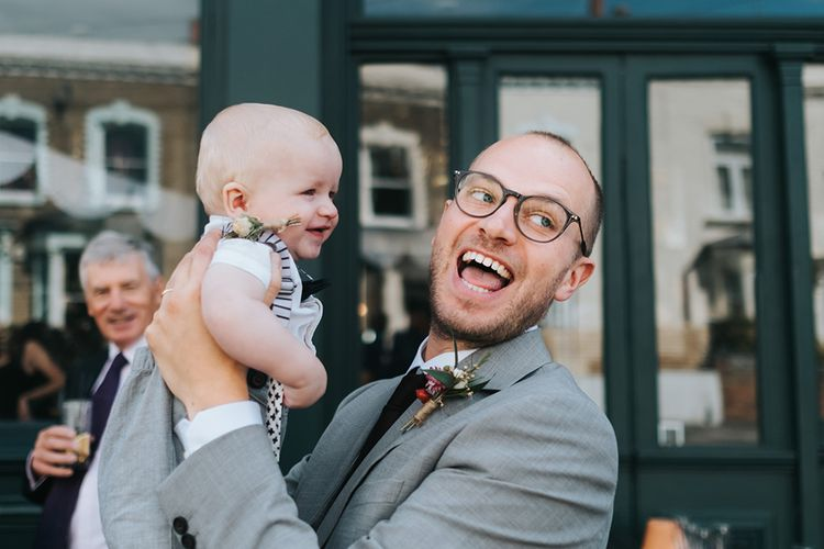 Father & Son | Groom in Bailey Nelson Suit | Laid Back Pub Wedding at The Londesborough | Miss Gen Photography