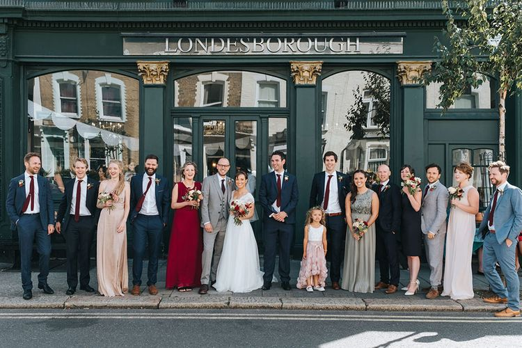 Wedding Party | Bride in Cymbeline Wedding Dress | Groom in Bailey Nelson Suit | Bridesmaids in Different Dresses | Laid Back Pub Wedding at The Londesborough | Miss Gen Photography
