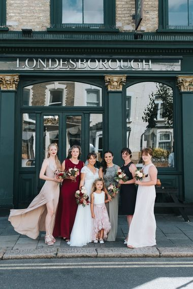 Bride in Cymbeline Wedding Dress | Bridesmaids in Different Dresses | Laid Back Pub Wedding at The Londesborough | Miss Gen Photography