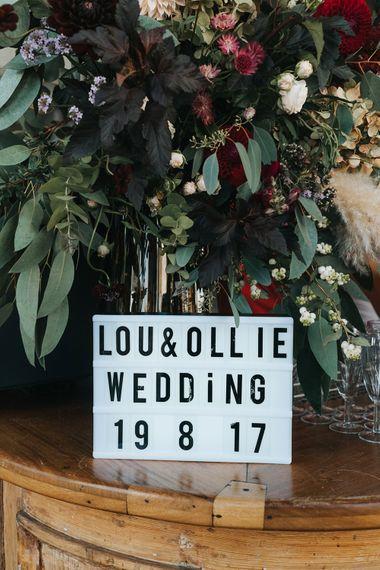 Light Box Wedding Sig | Laid Back Pub Wedding at The Londesborough | Miss Gen Photography
