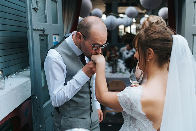 Bride in Cymbeline Wedding Dress | Groom in Bailey Nelson Suit | Bride in Cymbeline Wedding Dress | Groom in Bailey Nelson Suit | Laid Back Pub Wedding at The Londesborough | Miss Gen Photography