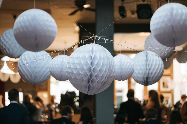 Honeycomb Balls Wedding Decor | Laid Back Pub Wedding at The Londesborough | Miss Gen Photography