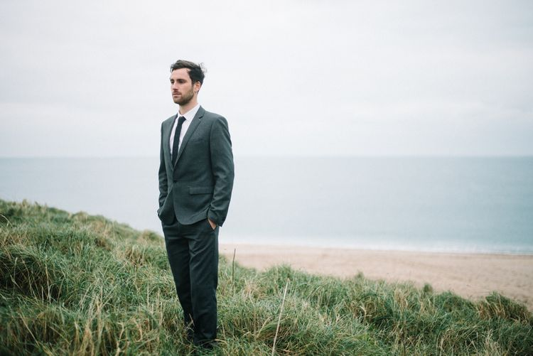 Groom Beach Wedding Cornwall
